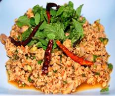 Thai Spicy Minced Chicken Salad (Larb Gai)